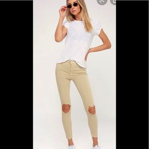 NWT Busted Knee Free People Jeans in Beige